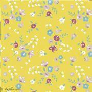 Tissu lycra maillot de bain motif fleurs - Ocre