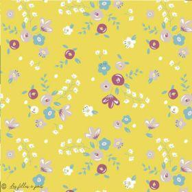 Tissu lycra maillot de bain motif fleurs - Ocre - 1