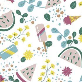 Tissu lycra maillot de bain motif glace et pastèque - Blanc, vert et ocre - 1