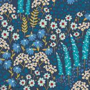 "Tissu coton motif fleurs ""Angles - Catch and Release"" - Bleu - Oekotex ® - AGF ®"