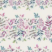 "Tissu coton motif fleurs ""Flowers Child"" - Ecru et violet - Oekotex ® - AGF ® Art Gallery Fabrics ® - 1"
