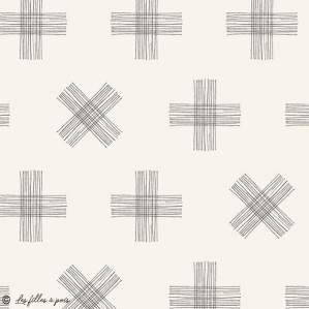 "Tissu coton motif croix ""Nest"" - Blanc et noir - AGF ® Art Gallery Fabrics ® - Tissus - 1"