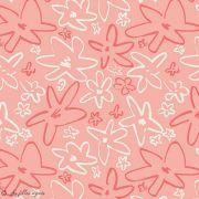 "Tissu coton motif fleur ""Happy Home"" - Corail et blanc - AGF ® Art Gallery Fabrics ® - 2"