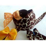 Ruban gros grain - Marron et beige motif girafe - 9mm - 1