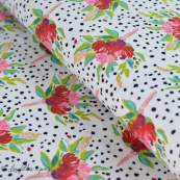 "Tissu jersey motif pois et fleurs ""Bloomsbury"" de Bari J - Blanc - Oekotex - AGF ® Art Gallery Fabrics ® - Tissus - 1"
