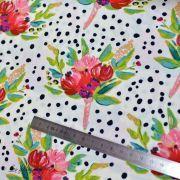 "Tissu coton motif pois et fleurs ""Bloomsbury"" de Bari J - Blanc - Oekotex - AGF ® Art Gallery Fabrics ® - 3"