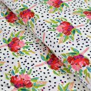 "Tissu coton motif pois et fleurs ""Bloomsbury"" de Bari J - Blanc - Oekotex - AGF ® Art Gallery Fabrics ® - 2"