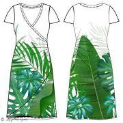 Panneau de tissu jersey feuilles de palmier et monstera- Blanc et vert - Oeko-Tex ® - Stenzo Textiles ® Stenzo Textiles ® - Tiss