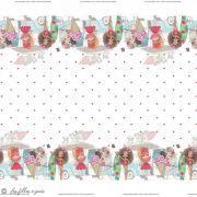 Panneau de tissu jersey fillettes mode - Blanc et tons roses - Oeko-Tex ® - Stenzo Textiles ® Stenzo Textiles ® - 1