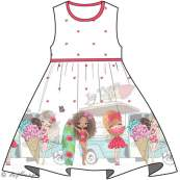 Panneau de tissu jersey fillettes mode - Blanc et tons roses - Oeko-Tex ® - Stenzo Textiles ® Stenzo Textiles ® - 3