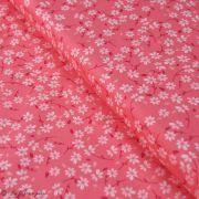 "Tissu coton motif fleur ""Little Town"" - Corail et blanc - AGF ®"