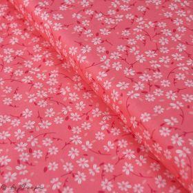 "Tissu coton motif fleur ""Little Town"" - Corail et blanc - AGF ® Art Gallery Fabrics ® - 1"