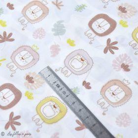 """Tissu coton motif lion """"Jungle"""" - Blanc, ocre et marron - Oeko-Tex ® et GOTS ® Autres marques - 2"""
