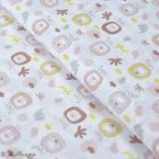"""Tissu coton motif lion """"Jungle"""" - Blanc, ocre et marron - Oeko-Tex ® et GOTS ® Autres marques - 1"""