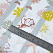 """Tissu coton motif singe """"Jungle"""" - Blanc, ocre et marron - Oeko-Tex ® et GOTS ® Autres marques - 2"""