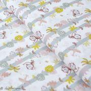 """Tissu coton motif singe """"Jungle"""" - Blanc, ocre et marron - Oeko-Tex ® et GOTS ®"""