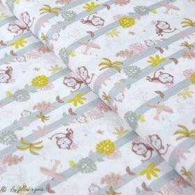 """Tissu coton motif singe """"Jungle"""" - Blanc, ocre et marron - Oeko-Tex ® et GOTS ® Autres marques - Tissus et mercerie - 1"""