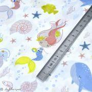 "Tissu coton motif Sirène ""Mer"" - Blanc, ocre et bleu - Oeko-Tex ® et GOTS ® Autres marques - 2"
