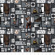 Tissu coton STARWARS ™ Résistance Rey, Finn et Rose Tico - Gris