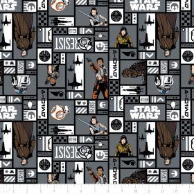Tissu coton STARWARS ™ Résistance Rey, Finn et Rose Tico - Gris Camelot Fabrics ® - 1