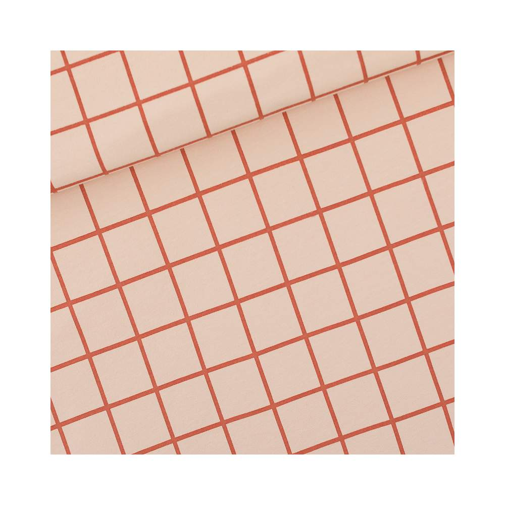 Tissu french terry coton GRID - Rose soirée et rouge - Oeko-Tex ® - See You At Six ® See You At Six ® - Tissus Oekotex - 1