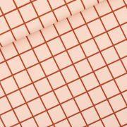 Tissu de lycra GRID motif carreaux - Rose soirée et rouge - See You At Six ®
