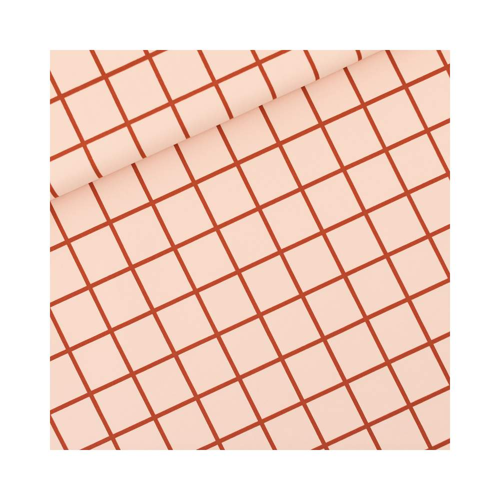 Tissu de lycra GRID motif carreaux - Rose soirée et rouge - See You At Six ® See You At Six - 1