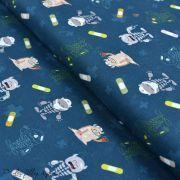 """Tissu coton motif """"Monstre medical"""" - Bleu, blanc, rouge et ocre - Oeko-Tex ® et GOTS ®"""