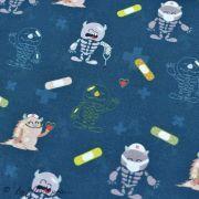 """Tissu coton motif  """"Monstre medical"""" - Bleu, blanc, rouge et ocre - Oeko-Tex ® et GOTS ® Autres marques - Tissus et mercerie - 3"""