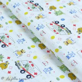 """Tissu coton motif """"Monstre medical"""" - Blanc, bleu, rouge et ocre - Oeko-Tex ® et GOTS ® Autres marques - 1"""