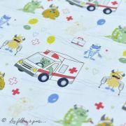 """Tissu coton motif """"Monstre medical"""" - Blanc, bleu, rouge et ocre - Oeko-Tex ® et GOTS ® Autres marques - 2"""