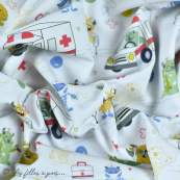 """Tissu coton motif """"Monstre medical"""" - Blanc, bleu, rouge et ocre - Oeko-Tex ® et GOTS ® Autres marques - 3"""