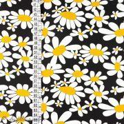 Tissu coton motif fleurs marguerite - Noir Autres marques - 2