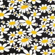 Tissu coton motif fleurs marguerite - Noir Autres marques - 1