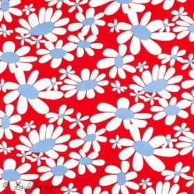 Tissu coton motif fleurs marguerite - Rouge Autres marques - 1