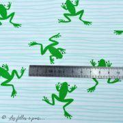 "Tissu jersey motif grenouilles ""Frog"" - Blanc et vert - Oekotex et Bio - Lily balou ® Art Gallery Fabrics ® - Tissus - 2"