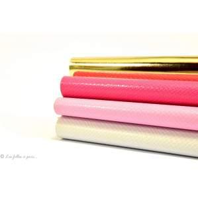 Coupons simili cuir - Blanc, Rose et doré - Lot de 4 Autres marques - 1