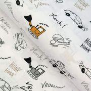 Tissu popeline motif voiture - Blanc, gris et ocre - Oeko-Tex ® - Stenzo Textiles ® Stenzo Textiles ® - Tissus Oekotex - 1