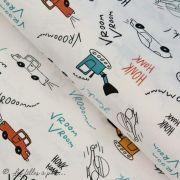 Tissu popeline motif voiture - Blanc, bleu, rouge et ocre - Oeko-Tex ® - Stenzo Textiles ® Stenzo Textiles ® - 1