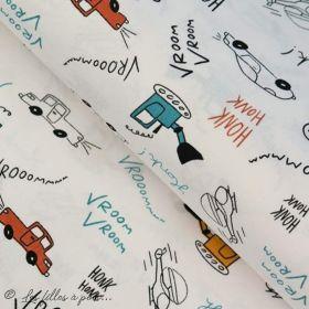 Tissu popeline motif voiture - Blanc, bleu, rouge et ocre - Oeko-Tex ® - Stenzo Textiles ® Stenzo Textiles ® - Tissus Oekotex -