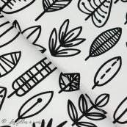Tissu popeline motif feuilles - Blanc et noir - Oeko-Tex ® - Stenzo Textiles ® Stenzo Textiles ® - Tissus Oekotex - 1