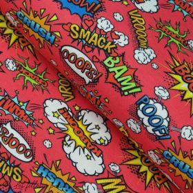 Tissu jersey motif inscriptions onomatopées - Rouge et multicolore - Oeko-Tex ® - Stenzo Textiles ® Stenzo Textiles ® - 1