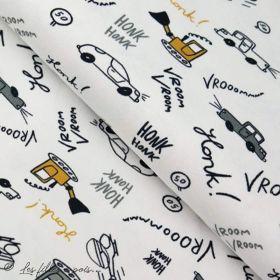 Tissu jersey motif voiture - Blanc, gris et ocre - Oeko-Tex ® - Stenzo Textiles ® Stenzo Textiles ® - 1