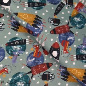 Tissu jersey motif espace - Gris, rouge, bleu et ocre - Oeko-Tex ® - Stenzo Textiles ® Stenzo Textiles ® - Tissus Oekotex - 1