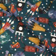 Tissu jersey motif espace - Pétrole, rouge, bleu et ocre - Oeko-Tex ® - Stenzo Textiles ®