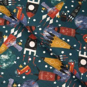 Tissu jersey motif espace - Pétrole, rouge, bleu et ocre - Oeko-Tex ® - Stenzo Textiles ® Stenzo Textiles ® - Tissus Oekotex - 1