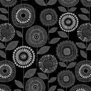 Tissu enduit ou laminé motif fleurs - Noir et blanc - BIO - Cloud 9 ® Cloud9 Fabrics ® - Tissus BIO - 5