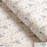 """Tissu jersey coton motif souris """"Corissou"""" - Blanc et rose - Oeko-Tex ® Autres marques - 1"""
