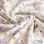 """Tissu jersey coton motif souris """"Corissou"""" - Blanc et rose - Oeko-Tex ® Autres marques - 4"""
