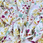 "Tissu jersey coton motif animaux ""Jinjua"" - Blanc et multicolore - Oeko-Tex ® Domotex - 4"